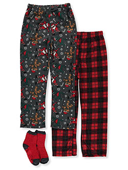 PJ'S & Presents Holiday Medley 3-Piece Pajama Pants & Socks Set by PJ's & Presents in Red - Boys Fashion