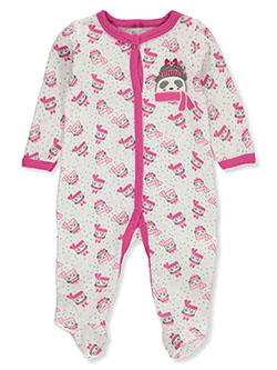 Panda Thermal Footed Coverall by Duck Duck Goose in fuchsia/multi and peach multi
