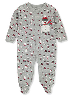Snowman Thermal Footed Coverall by Duck Duck Goose in Gray