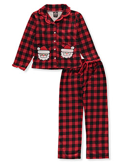 Girls' Santa Check 2-Piece Pajamas by PJ's & Presents in Multi, Girls Fashion