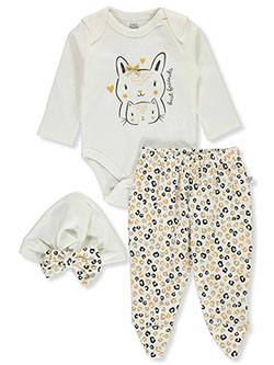 Bunny & Cat 3-Piece Layette Set by Little Joy in Multi