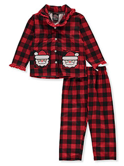 Santa Check 2-Piece Pajamas by PJ's & Presents in Multi