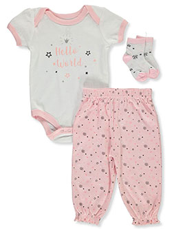 Hello World 3-Piece Layette Set Outfit by Little Joy in Multi
