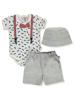 Bowtie Print 3-Piece Layette Set by Dapper Dude in White/gray