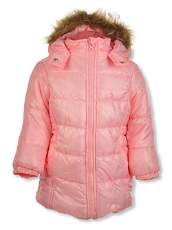 Faux Fur Trim Insulated Parka by Real Love in Pink, Infants