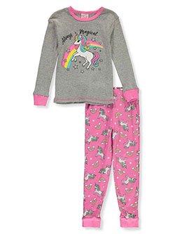 Girls' Always Magical 2-Piece Pajamas by Mon Petit in gray multi and pink/multi, Girls Fashion