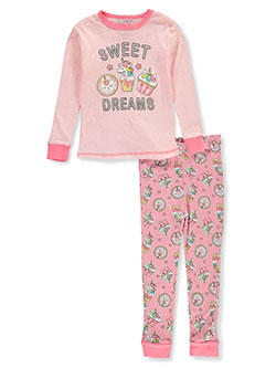 Girls' Sweet Dreams 2-Piece Pajamas by Mon Petit in peach multi and turquoise/multi, Girls Fashion