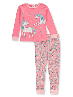 Girls' Unicorns 2-Piece Pajamas by Mon Petit in coral/multi and navy/multi