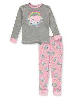 Girls' Rainbow Sloth 2-Piece Pajamas by Mon Petit in gray multi and pink/multi, Girls Fashion
