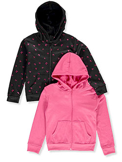 Girls' 2-Pack Zip Hoodies by Real Love in black multi and charcoal gray/pink, Girls Fashion