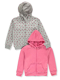 Girls' 2-Pack Zip Hoodies by Real Love in gray multi and pink/multi, Girls Fashion