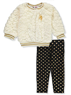 Plush Heart 2-Piece Leggings Set Outfit by Real Love in ivory/multi and pink/multi