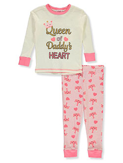 Baby Girls' Queen 2-Piece Pajamas by Mon Petit in ivory/multi and pink/multi