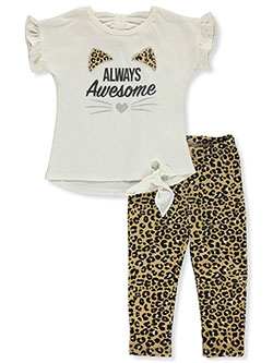 Always Awesome 2-Piece Leggings Set Outfit by Real Love in ivory/multi and pink/multi