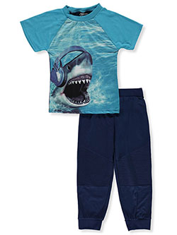 Quad Seven Boys' 2-Piece Shark Pajamas by Alura in blue/multi and red/multi