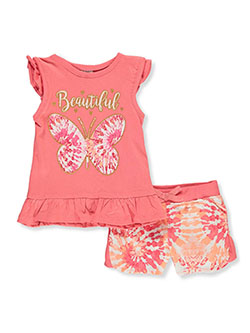 Beautiful Butterfly 2-Piece Shorts Set Outfit by Real Love in coral/multi and hot pink