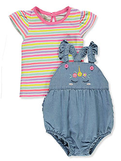 Floral Unicorn 2-Piece Shortalls Set Outfit by My Destiny in fuchsia/multi and yellow multi