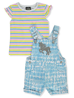 Unicorn 2-Piece Shortalls Set Outfit by My Destiny in blue/multi and pink/multi