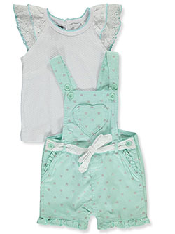 Hearts 2-Piece Shortalls Set Outfit by My Destiny in mint multi and pink/multi