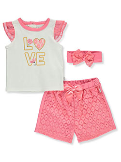 Love 3-Piece Shorts Set Outfit by Duck Duck Goose in Coral/multi
