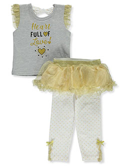 2-Piece Tutu Leggings Set Outfit by Duck Duck Goose in gray multi and peach multi