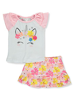 Duck Duck Goose Baby Girls Unicorn 2-Piece Skirt Set Outfit by Real Love in light pink multi and peach multi