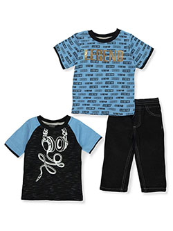 Boys' Legend 3-Piece Jeans Set Outfit by Quad Seven in black/light blue and red