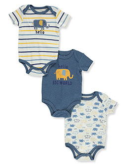 Hello Elephant 3-Pack Bodysuits by Duck Duck Goose in Multi, Infants