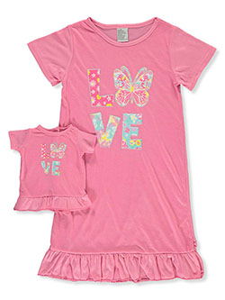 Love Butterfly Nightgown With Doll Outfit by BFF & Me in fuchsia and mint