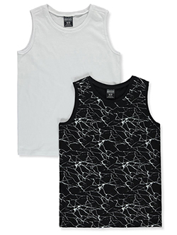 Boys' 2-Pack Tank Tops by Quad Seven in black multi and white/multi