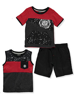 Baby Boys' 3-Piece Shorts Set Outfit by Quad Seven in red/multi and royal/multi