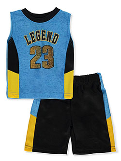 Legend 2-Piece Shorts Set Outfit by Mad Game in black/yellow and red/black