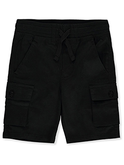 Boys' Twill Cargo Shorts by Quad Seven in Black