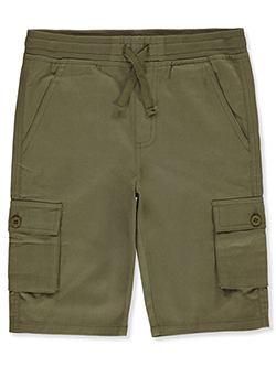Boys' Twill Cargo Shorts by Quad Seven in Olive