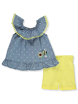 2-Piece Bumble Bee Bike Shorts Set Outfit by My Destiny in peach and yellow multi