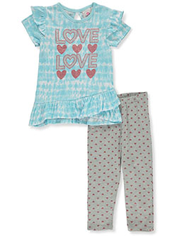 2-Piece Glitter Love Leggings Set Outfit by Real Love in blue/multi and pink/multi