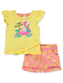 2-Piece Hello Sunshine Shorts Set Outfit by Real Love in pink/multi and yellow multi