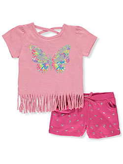 2-Piece Glitter Butterfly Shorts Set Outfit by Real Love in pink/multi and yellow multi