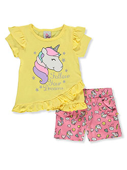 Girls' 2-Piece Unicorn Shorts Set Outfit by Real Love in coral/multi and yellow multi