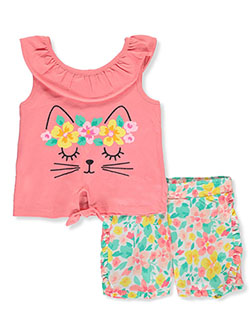 Girls 2-Piece Floral Kitty Shorts Set Outfit by Real Love in coral/multi and white/multi