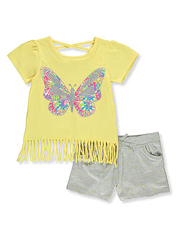 2-Piece Glitter Butterfly Shorts Set Outfit by Real Love in Yellow multi