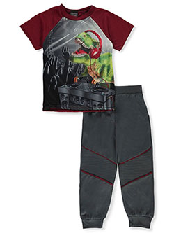 Boys' 2-Piece DJ Dino Pajamas by Quad Seven in burgundy multi and navy/multi
