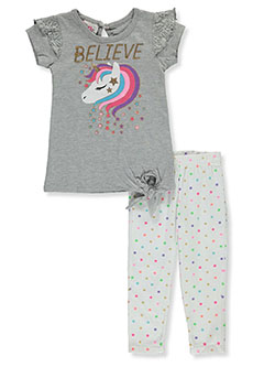 Baby Girls' 2-Piece Leggings Set Outfit by Real Love in gray multi and pink/multi