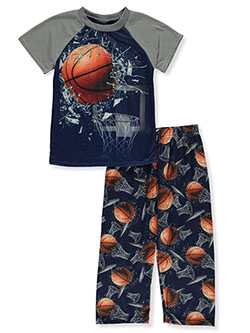 Basketball Shatter 2-Piece Pajamas by Quad Seven in gray multi and royal blue multi