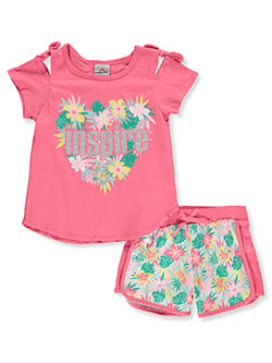 Girls' Inspire 2-Piece Shorts Set Outfit by Real Love in fuchsia/multi and yellow multi