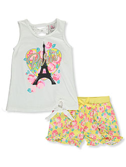 Paris Love 2-Piece Leggings Set Outfit by Real Love in pink/multi and white/multi