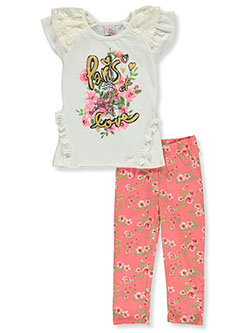 Paris Love 2-Piece Leggings Set Outfit by Real Love in ivory/multi and peach multi