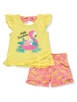 Hello Flamingo 2-Piece Shorts Set Outfit by Real Love in pink/multi and yellow multi