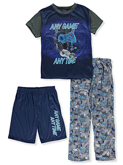 Boys' Game Time 3-Piece Pajamas by Quad Seven in navy/multi and red/black