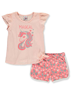 Girls' Unicorn 2-Piece Shorts Set Outfit by Real Love in peach multi and pink/multi